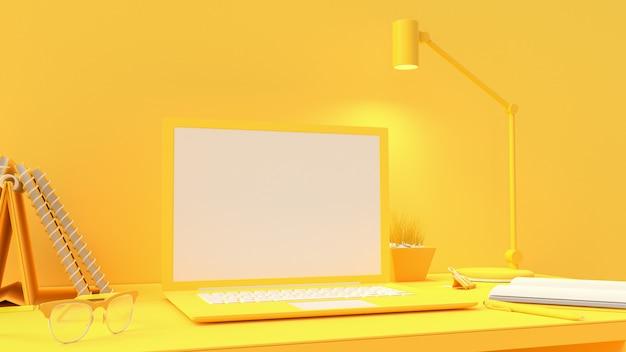 Computer portatile giallo su area di lavoro