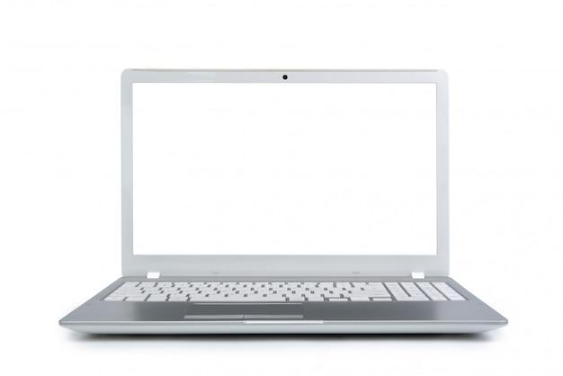 Computer portatile isolato con spazio vuoto su fondo bianco.