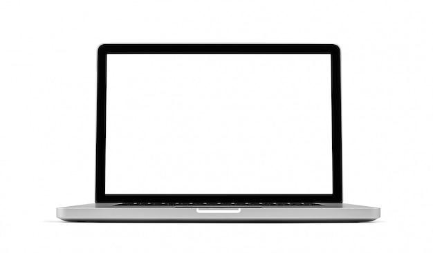 Computer portatile isolato su bianco, percorso di ritaglio incluso