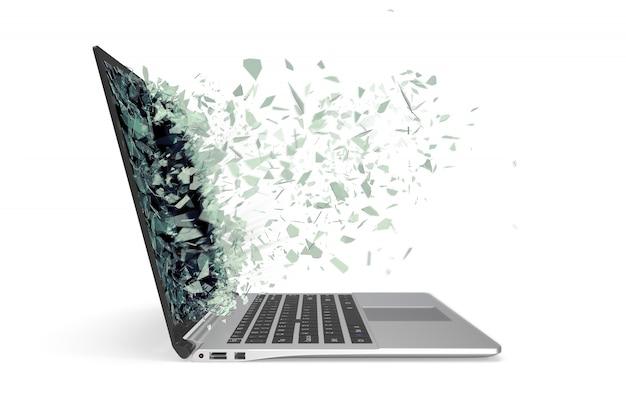 Computer portatile moderno del metallo con lo schermo rotto isolato su bianco.