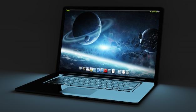 Computer portatile nero moderno sulla rappresentazione nera del fondo 3d
