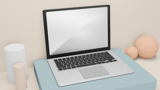 Computer portatile sullo scrittorio del lavoro derisione su fondo
