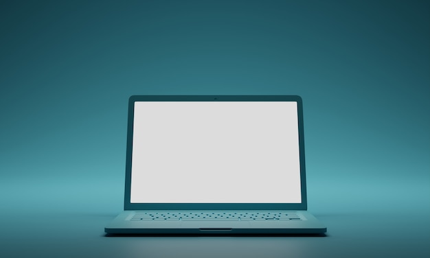 Computer portatile verde con lo schermo bianco in bianco su fondo verde. modello di mockup dello schermo.