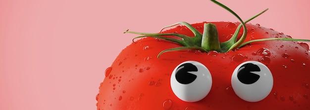 Concept creativo con pomodoro. pomodoro rosso con gli occhi in stile cartone animato. illustrazione di rendering 3d.