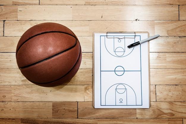 Concetti di strategia di sport del piano di gioco del playbook di pallacanestro