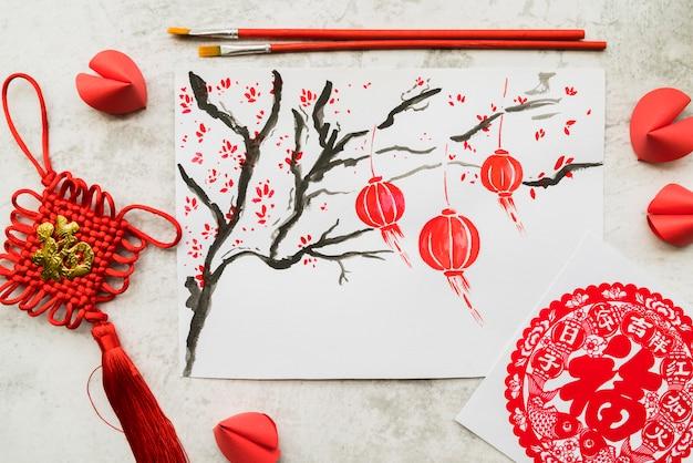 Concetto cinese di nuovo anno con la carta