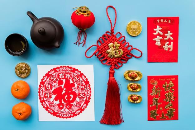 Concetto cinese di nuovo anno con vari elementi