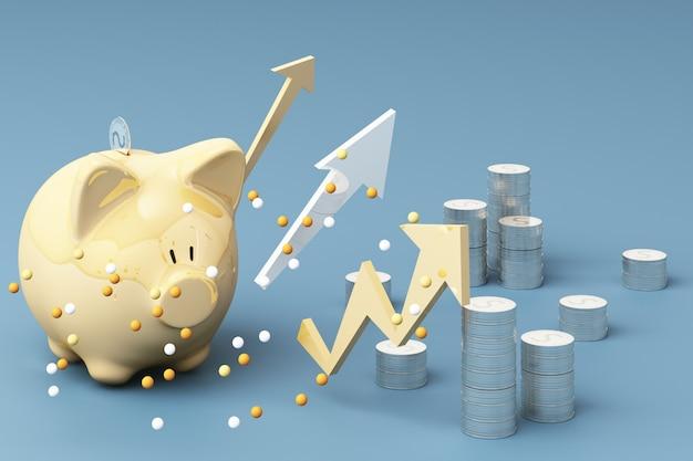 Concetto dei soldi di risparmio, manifestazione di reddito ricco di affari come freccia crescente della moneta dei soldi della pila con il sorriso del porcellino salvadanaio sopra la rappresentazione del mucchio 3d delle monete