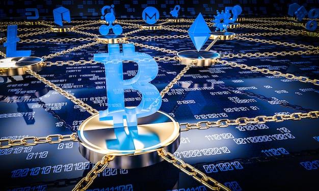 Concetto del blockchain di fo del fondo 3d