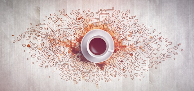 Concetto del caffè su fondo di legno - tazza di caffè bianco, vista superiore con l'illustrazione di scarabocchio circa caffè, fagioli, mattina. elementi di tiraggio della mano ed illustrazione del caffè