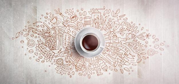 Concetto del caffè su fondo di legno - tazza di caffè bianco, vista superiore con l'illustrazione di scarabocchio di caffè, fagioli, mattina, caffè espresso in caffè, prima colazione. caffè del mattino. tiraggio della mano e illustrazione del caffè