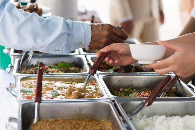 Concetto dell'alimento di approvvigionamento del ristorante della cena del buffet.
