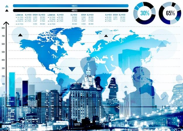 Concetto della mappa di mondo di crescita del grafico commerciale globale