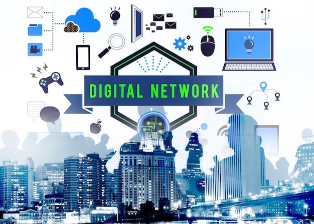 Concetto della rete del server di collegamento del computer della rete digitale