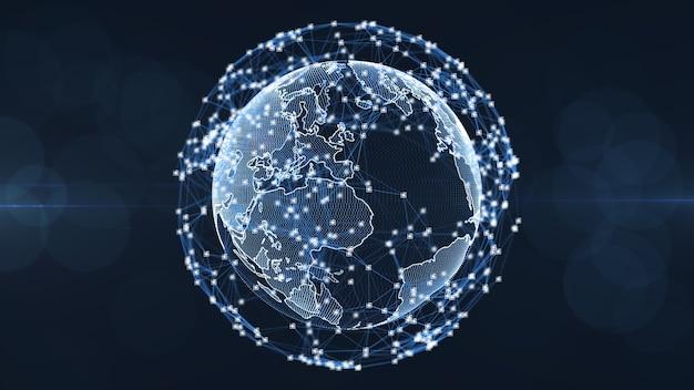 Concetto della rete di blockchain. collegamento digitale di grandi numeri del codice quadrato isometrico dei blocchi