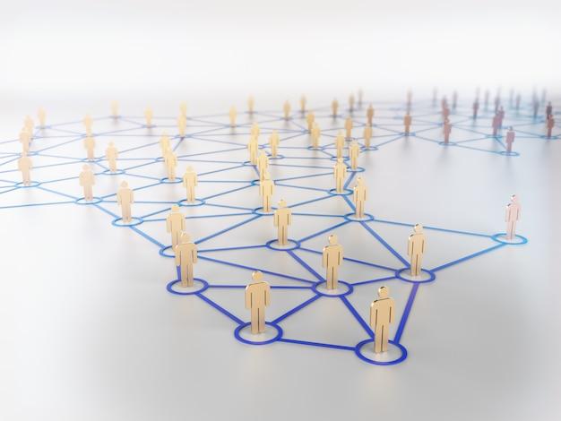 Concetto della rete sociale, figure umane sulla linea blu rappresentazione 3d
