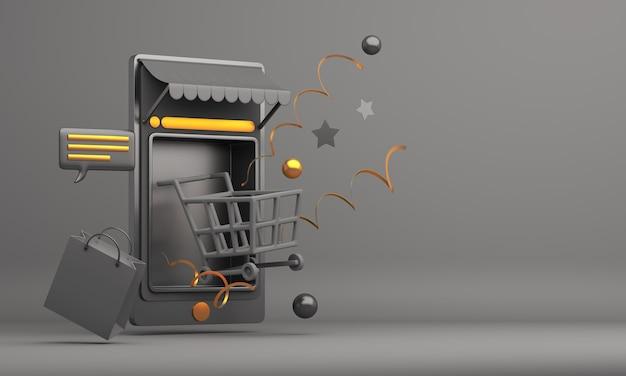 Concetto di acquisto in linea di venerdì nero con il carrello e il sacchetto della spesa dell'illustrazione delle applicazioni del telefono cellulare