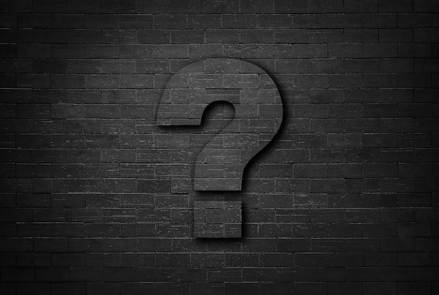 Concetto di affari del punto interrogativo sul fondo nero di struttura del muro di mattoni