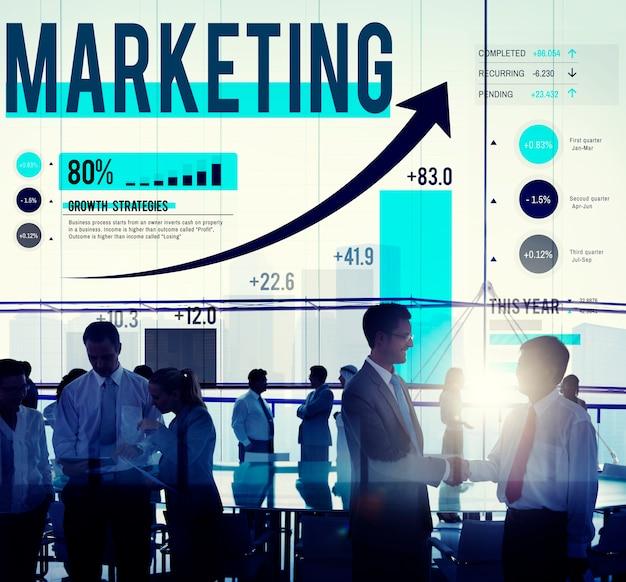 Concetto di affari di pianificazione di strategia di mercato di vendita