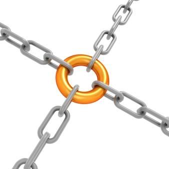 Concetto di affidabilità con catena e un collegamento a catena in oro