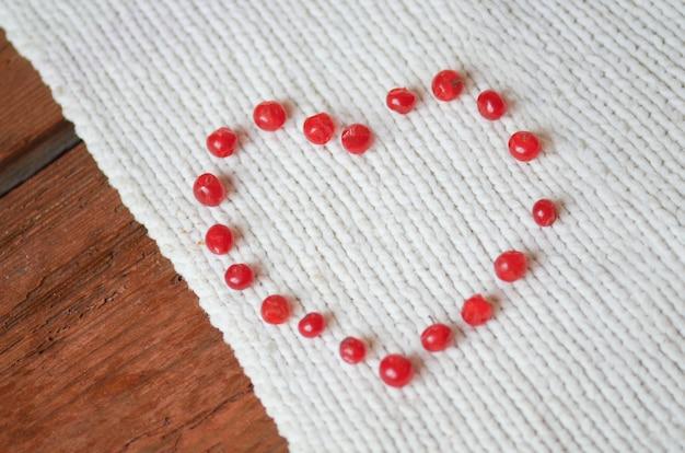 Concetto di amore con bacche rosse a forma di cuore