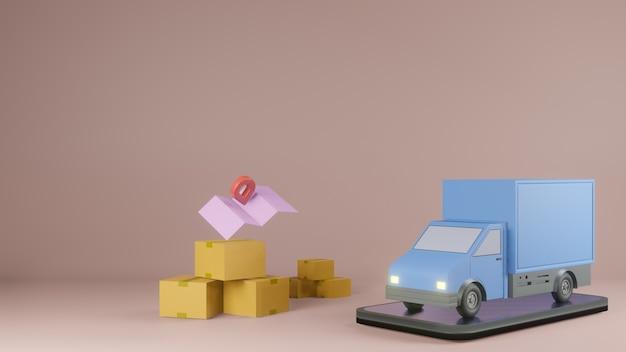 Concetto di app di servizio di consegna online, furgone e telefono cellulare con mappa. rendering 3d