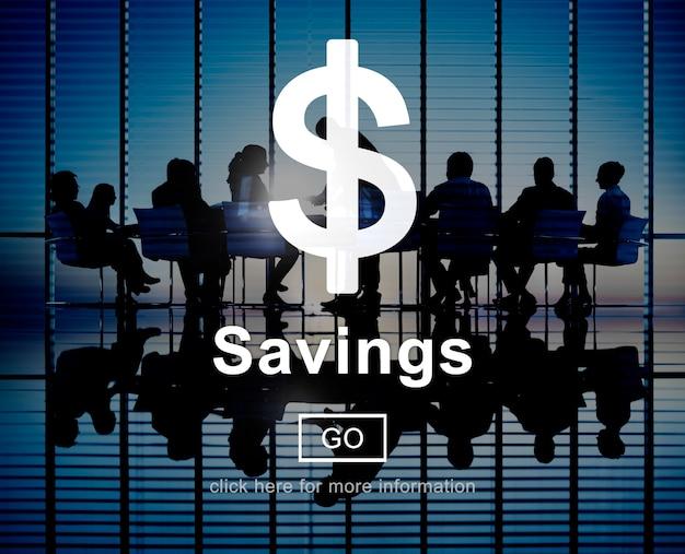 Concetto di attività bancarie di contabilità finanziaria dei soldi di risparmio