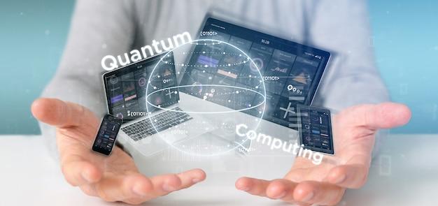 Concetto di calcolo di quantum della tenuta dell'uomo d'affari con la rappresentazione dei dispositivi e del qubit 3d