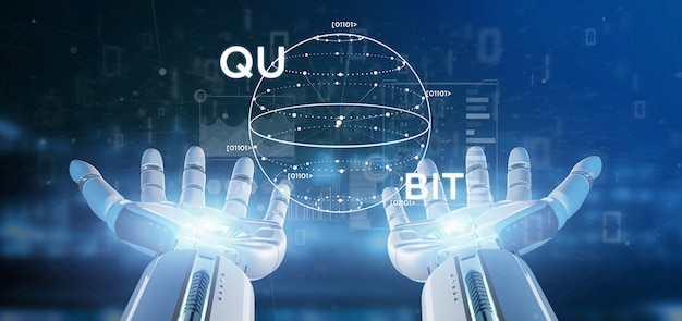 Concetto di calcolo di quantum della tenuta della mano del cyborg con la rappresentazione dell'icona 3d del qubit
