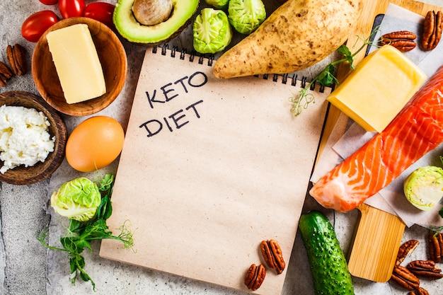 Concetto di cibo dieta cheto. pesce, uova, formaggio, noci, burro e verdure - ingredienti dieta keto.