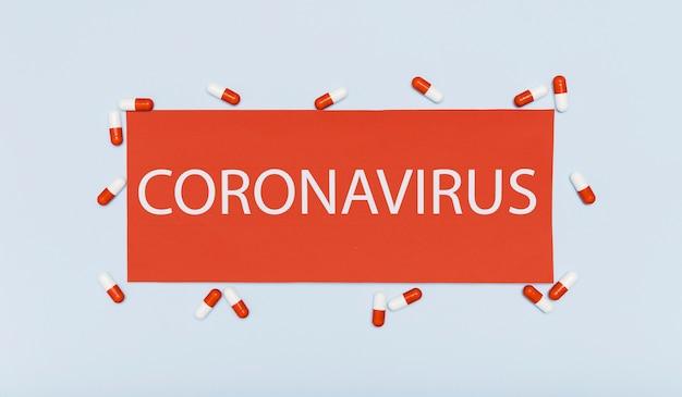 Concetto di coronavirus con capsule