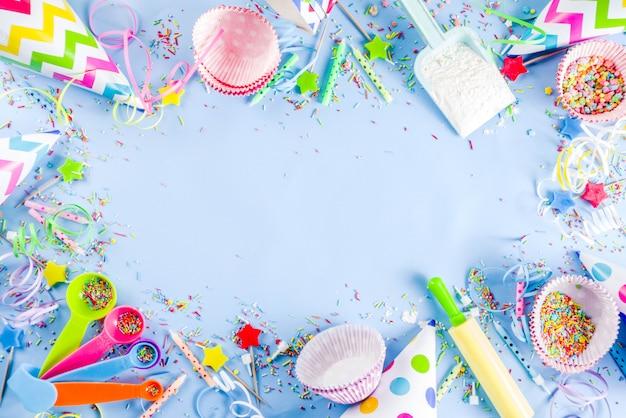 Concetto di cottura dolce per la festa di compleanno