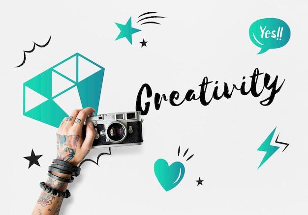 Concetto di creatività di progettazione di idee originali