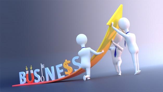 Concetto di crescita del business con testo aziendale creativo e uomini d'affari.