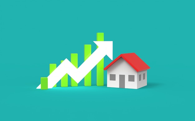 Concetto di crescita immobiliare. grafico commerciale e casa. illustrazione 3d.