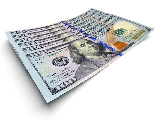 Concetto di denaro - diverse banconote in dollari isolate su bianco
