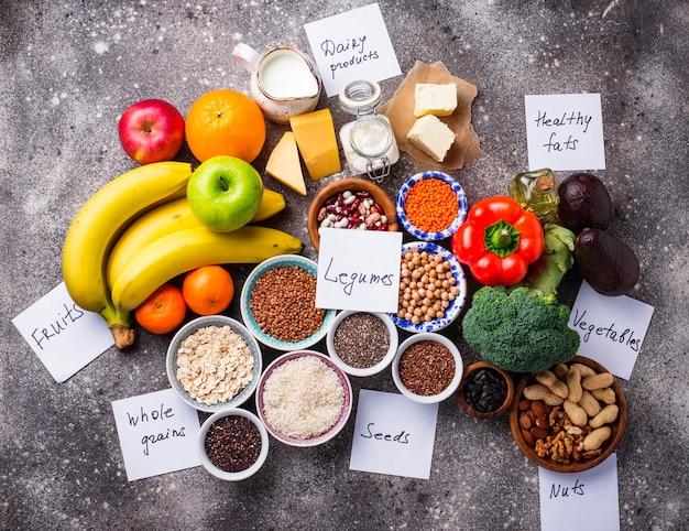 Concetto di dieta vegetariana lacto. cibo salutare