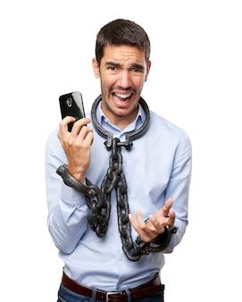 Concetto di dipendenza dal telefono cellulare