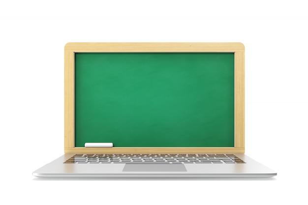 Concetto di e-learning, computer portatile isolato su bianco.