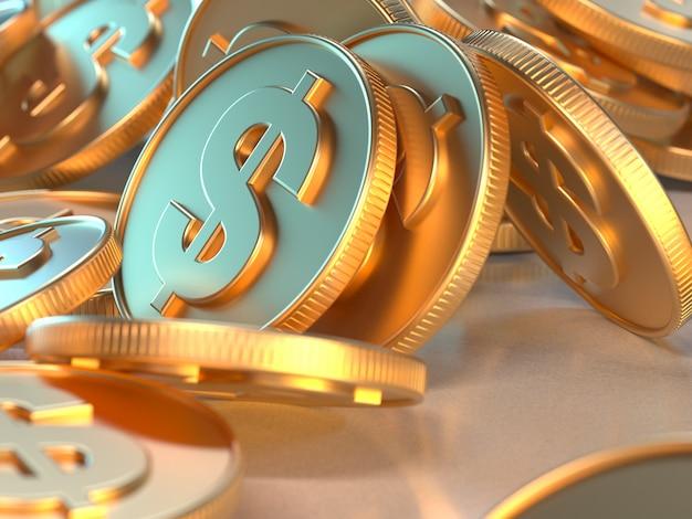 Concetto di economia aziendale di simbolo del dollaro della moneta di oro della rappresentazione 3d