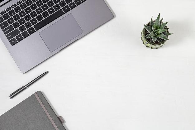 Concetto di educazione moderna, spazio di lavoro per gli studenti. spazio di lavoro. computer grigio, piccola pianta verde, taccuino in bianco e penna sul tavolo. vista dall'alto. disteso. copia spazio.