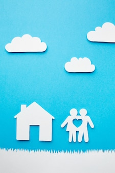 Concetto di famiglia di carta vista dall'alto