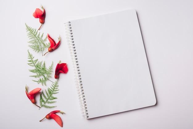 Concetto di fiori adorabili con notebook