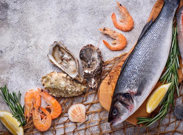 Concetto di frutti di mare pesce, gamberetti e ostriche.