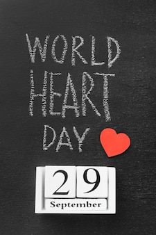 Concetto di giornata mondiale del cuore vista dall'alto