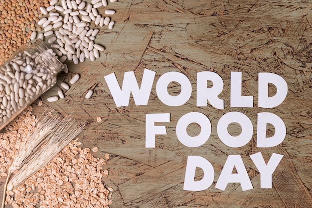 Concetto di giornata mondiale dell'alimentazione con i fagioli