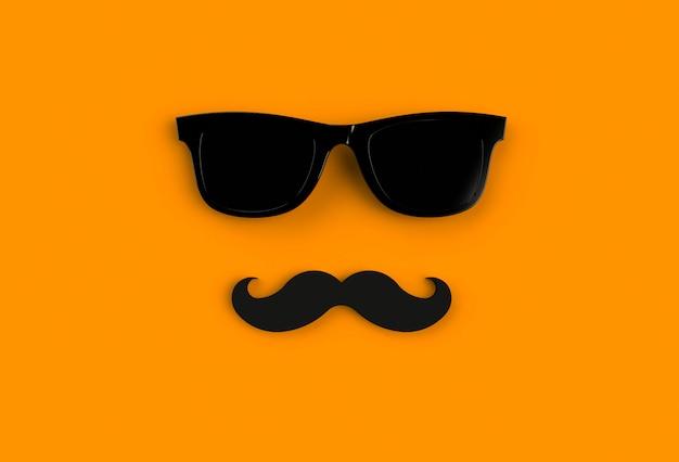 Concetto di giorno del padre. occhiali da sole neri hipster e baffi divertenti su sfondo arancione