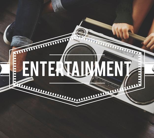 Concetto di grafica vettoriale vintage di intrattenimento