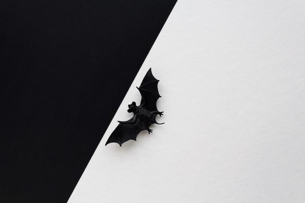 Concetto di halloween. pipistrello nero tra due sfondi.