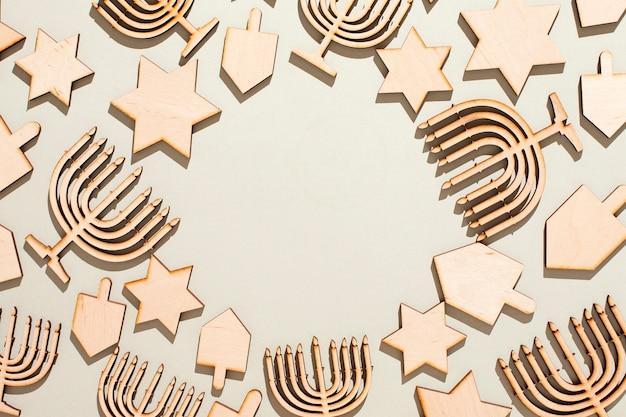 Concetto di hanukkah vista dall'alto con spazio di copia